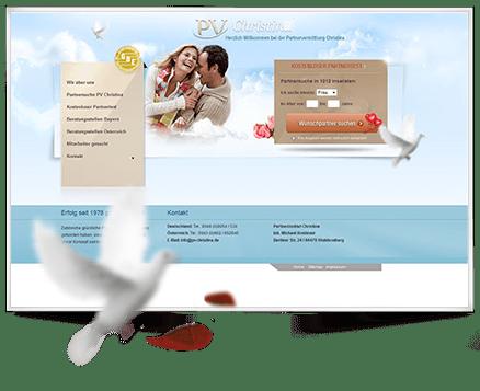 Screendesign im Auftrag für Partnervermittlung Christina