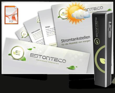 Produktdesign E-Tankstelle und E - Wandtankstelle sowie Printprodukte für Estonteco