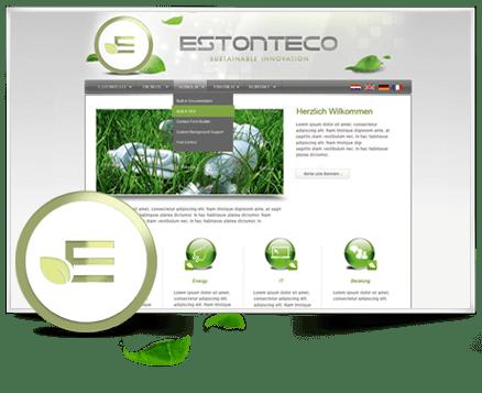 Webseite, Logo, Karten, Broschüren, RollUps, E-Tankstellen Produkt Design - Estonteco