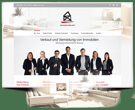 Screen Design - im Auftrag - für die Webseite von Procase