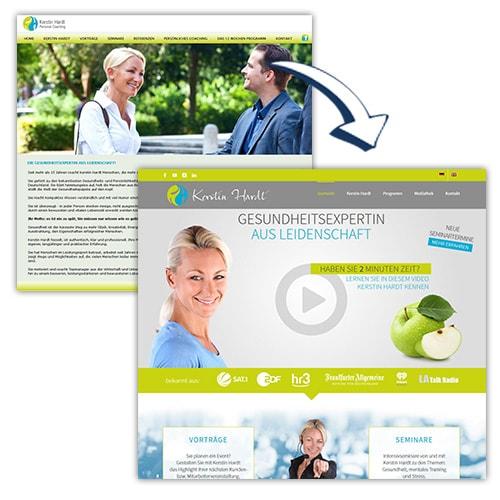 Bild Webseite Vorher und Nachher